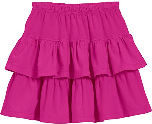 (City Threads Little Girls' Cotton Jersey Layered Tiered Skirt For School, Party or Play Perfect For Sensitive Skin and Sensory Friendly SPD, Hot Pink, 7)