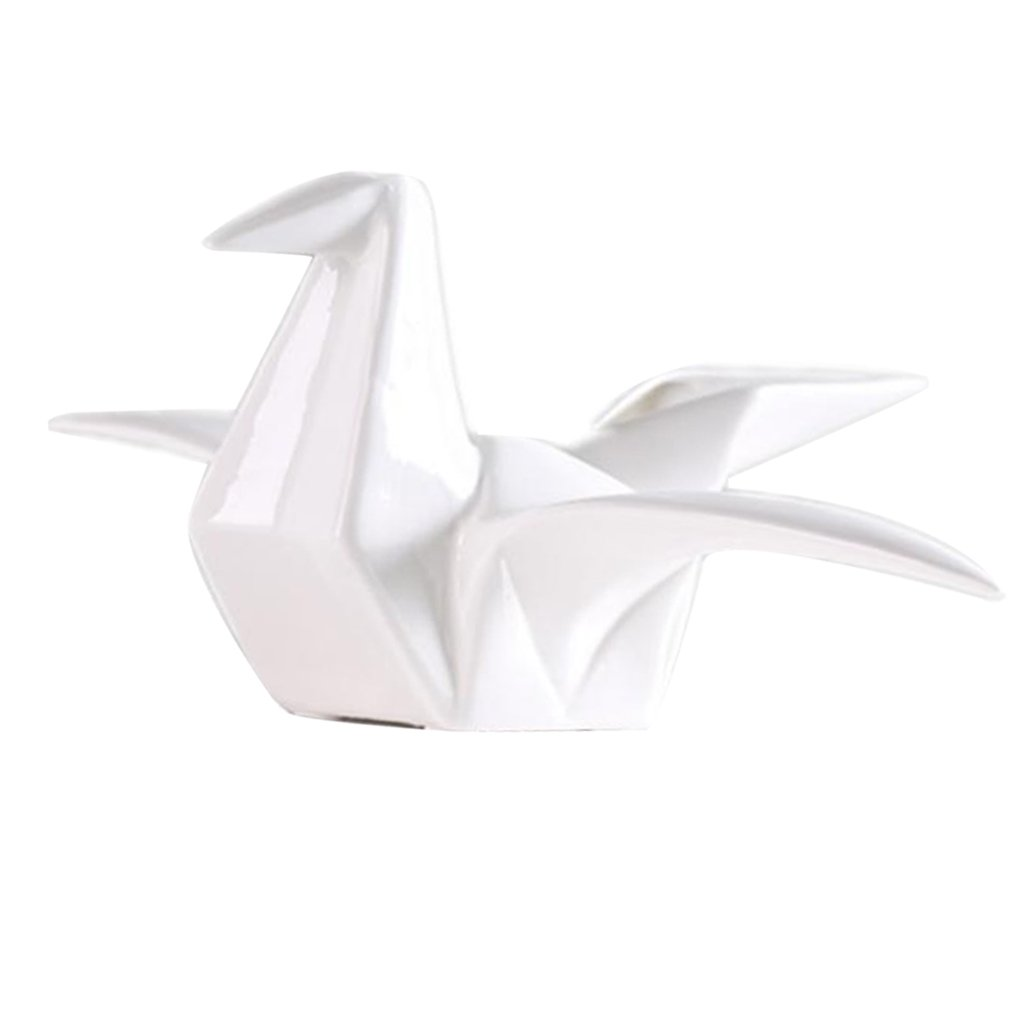 S Blesiya Handcrafted Ceramic Origami Crane Figurine Statue Home Office Tabletop Decor Crafts White