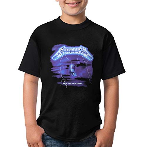 Zalfred Boys Skull Metallica Music Band Ride The Lightning Short Sleeve Tee (Metallica Jump In The Fire T Shirt)