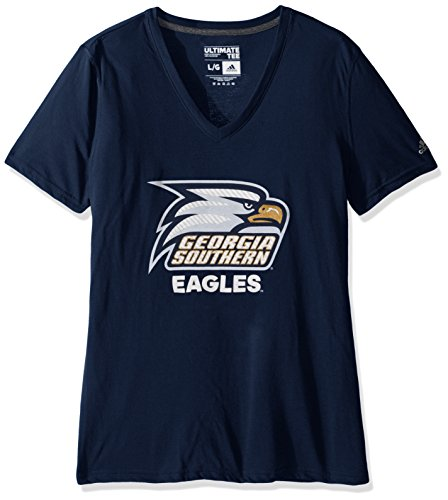 School Eagles Women Shirts (NCAA Georgia Southern Eagles Adult Women Lined Logo S/Ultimate V Tee,Small,Navy)