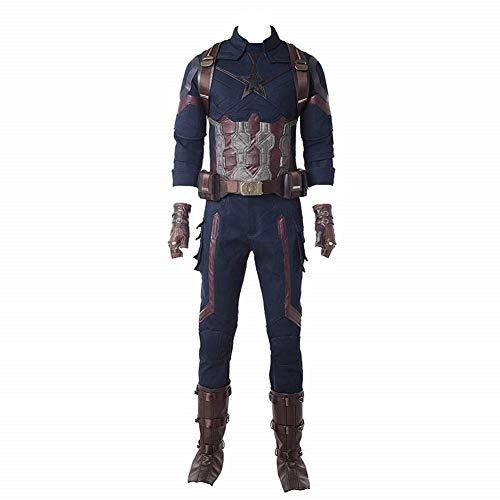 Superhero Captain Soldier Costume Deluxe Halloween Cosplay Full Set PU Suit L