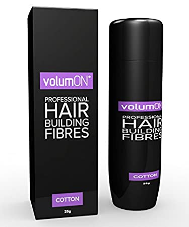 Volumon Professional Hair Building Fibres- Hair Loss Concealer- COTTON- 28g- Get Upto 30 Uses- CHOOSE FROM 8 HAIR SHADES COLOURS (Black)