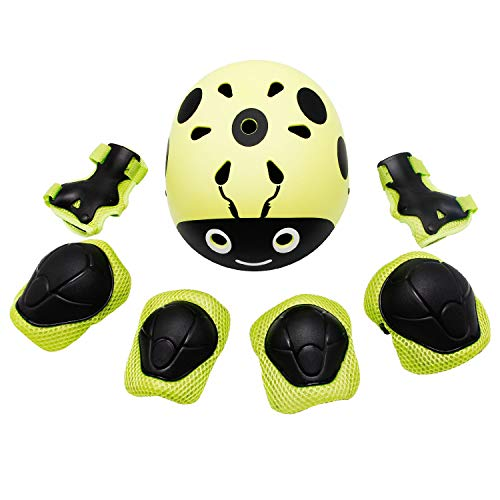 Lohesozl Kid Helmet 7Pcs Sports Protective Gear for Kids, Adjustable Elbow Pads Knee Pads with Wrist Guard, 3-11 Years Boys Girls Child Skateboard Rollerblading Cycling Scooter Helmet (Yellow/Green) -