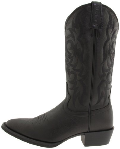 "Justin Boots Men's Stampede Collection 13"" Western Boot Medium Round Toe,Black Deercow,10.5 D US"