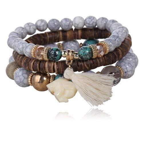 TTO Chain & Link Bracelets - 3pcs/Set Multilayer Bead Bracelet Gem Marble Tassel Pendant Bangles Buddhism Lama Bracelets 1 PCs