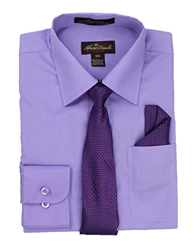 Alberto Danelli's Boys Long Sleeve Dress Shirt with Matching Tie and Handkerchief, 18, Periwinkle