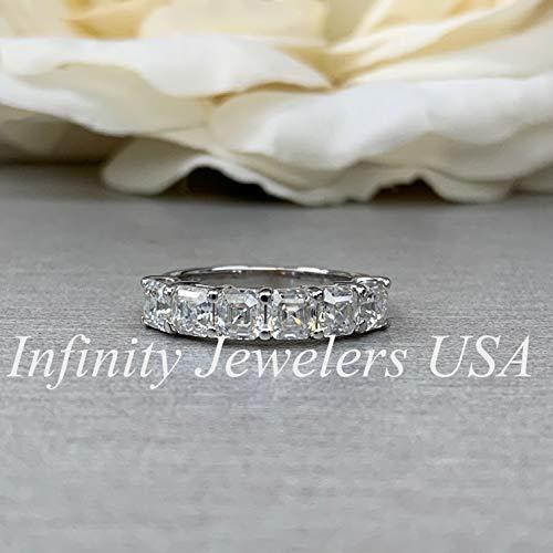 Moissanite Engagement Band/Asscher Cut Wedding Band/Six Stone Ladies Ring/Matching Band / 14k White Gold / #6208