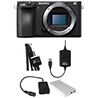 Sony Alpha a6500 Mirrorless Digital Camera Body - Bundle w/ Case Relay Camera Power System, Case Relay Camera Coupler, Tether 10000mAh External Battery Pack, Tether StrapMoore for Laptop Power Brick