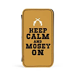 Keep Calm and Mosey On Carcasa Protectora Premiun PU en Cuero, con Tapa para Apple® iPhone 4 / 4s de Chargrilled + Se incluye un protector de pantalla transparente GRATIS