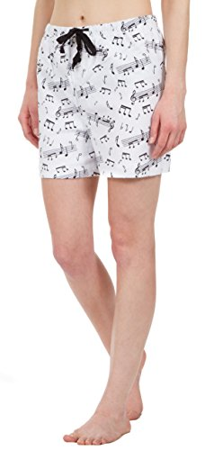 Leisureland Women's Pure Cotton Flannel Lounge Pajama Boxer Shorts Music Notes Print (Large) (Boxer White Short Flannel)