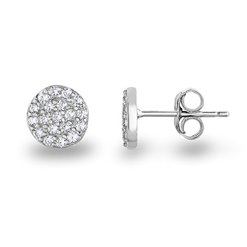 Rhodium Plated Sterling Silver Cubic Zirconia Mini Circle Pave Disc Stud Earrings 6mm Diameter