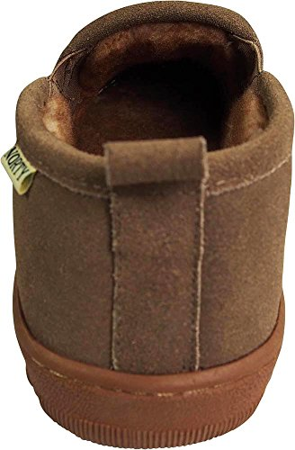 NORTY Mens Genuine Leather Cowhide Suede Slippers - Twin Gore Slip On Loafer - Lux Plush Fur Lining Taupe tl2M87i