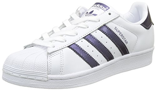 US 7 Purple White Night Metallic Trainers Leather Footwear Adidas Superstar Womens qwvPzOA6I