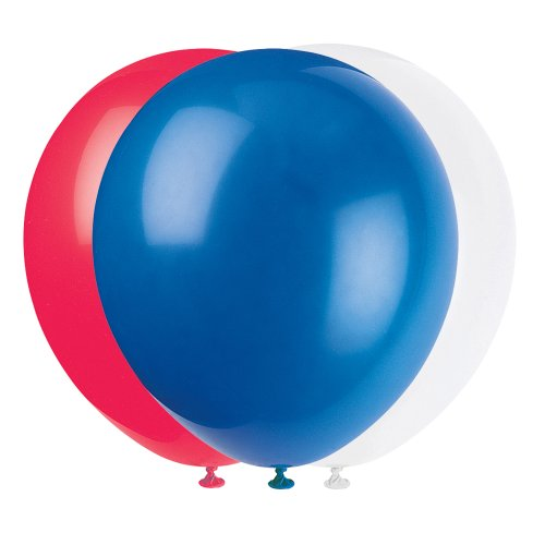 12'' Latex Red, White, and Blue 4th of July Party Balloons, (Fourth Of July Parties)