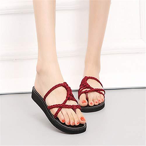 Tongs Bohème Ficelle De Rouge Weave À De Femmes Chaussures De EU Sandales Main 41 3 Romaines Noir 1 Couleur Wangcui Taille La XqPOwp