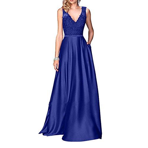 A Brau La Promkleider Brautmutterkleider Blau Partykleider Festlichkleider Rock mia Linie Abendkleider Spitze Royal Satin Langes v5awpgWq54