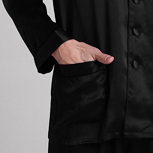 Lungo Pura Seta Set Contrasto A Uomo Motivo 100 Di Lilysilk Con Nero Pigiama 0HwIHS