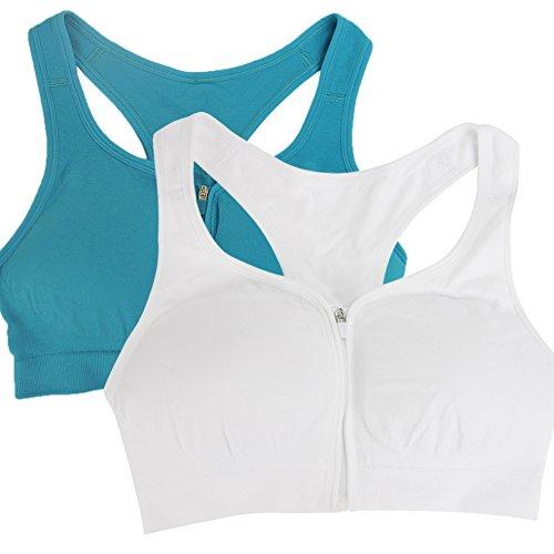 BollyQueena Women's Front Zipper Wireless Freedom Sports Bra Sports Wear Compression Bra White&Emerald Blue XL 2pack