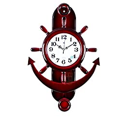 Graces Dawn 25'' Bright red helmsman Light-weight Ultra Mute Silent Quartz Movement Wall Clock with Swinging for Kitchen Living Room Home Decoration