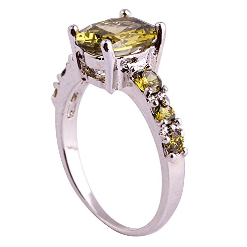 (Empsoul Women's 925 Sterling Silver Natural Chic Filled 7-Stone Oval Cut Peridot Topaz Engagement Proposal Ring)