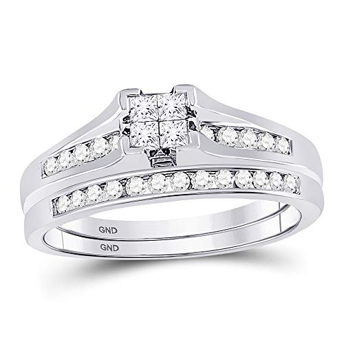Jewels By Lux 10kt White Gold Womens Princess Diamond Bridal Wedding Engagement Ring Band Set 1/2 Cttw Ring Size 11 (Diamond Invisible Set Bridal)