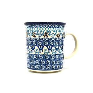 Polish Pottery Mug – Big Straight Sided – Blue Yonder