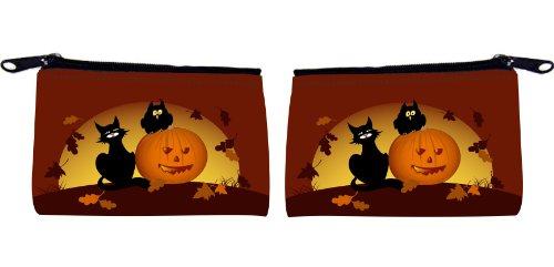 Rikki KnightTM Halloween Pumpkin And Black Cat Messenger Bag - - Shoulder Bag - School Bag for School or Work - With Matching coin Purse