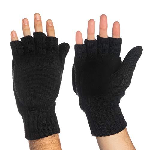 (John Bartlett Statements 3M Thinsulate Knit Fingerless Gloves Convertible Top Wool Flip Gloves With Mitten Cover For Men Women Winter)