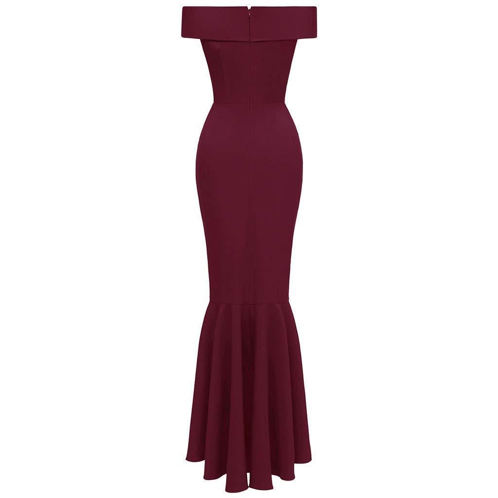 OWMEOT Dress, Women's Vintage Dresses Floral Lace Off Shoulder Boat Neck Cocktail Formal Swing Dress (Wine Red, M)