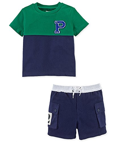 - Ralph Lauren Baby Boys 2-Piece Colorblocked Tee & Shorts Set Green/Navy (9 Months)