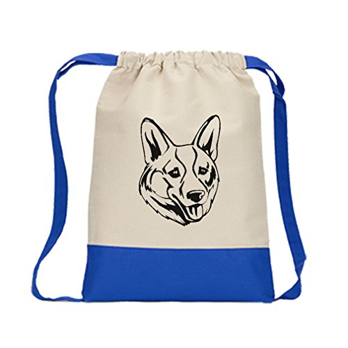 Canvas Backpack Color Drawstring Welsh Corgi, Cardigan Head Black | Royal (Welsh Corgi Head)