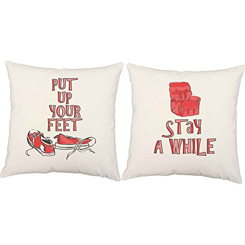 RoomCraft Set of 2 Put Your Feet Up Stay A While Throw Pillo