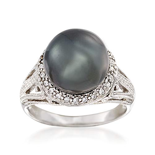 Ross-Simons 11-12mm Black Cultured Tahitian Pearl Ring With .20 ct. t.w. White Topaz in Sterling Silver