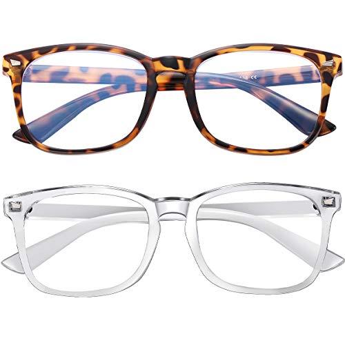 Blue Light Blocking Glasses 2pack Square Computer Glasses Women/Men, Nerd Reading Gaming Glasses Non Prescription (Transparent+Leopard)