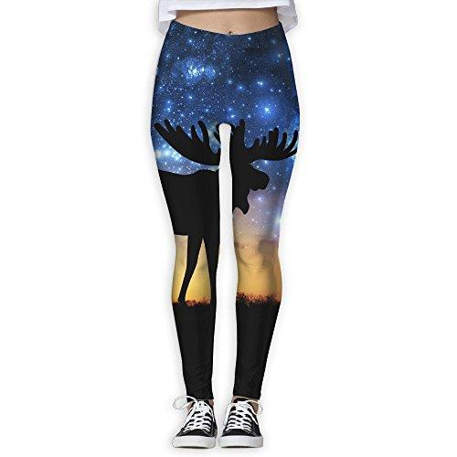 LanFong Women's Yoga Pants Universe Galaxy Moose Power Flex Full Length Capris Leggings