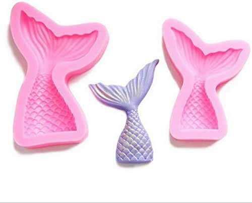 Yunko Set of 2 Mermaid Tail Silicone Jelly Sugar Chocolate Candy Fondant Molds Large and Small
