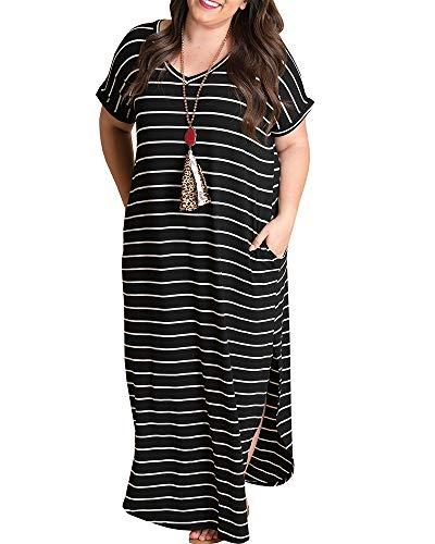 Tongmingyun Womens Plus Size Maxi Dresses Striped V Neck Short Sleeve T Shirt Casual Summer Long Dress with Pockets Black