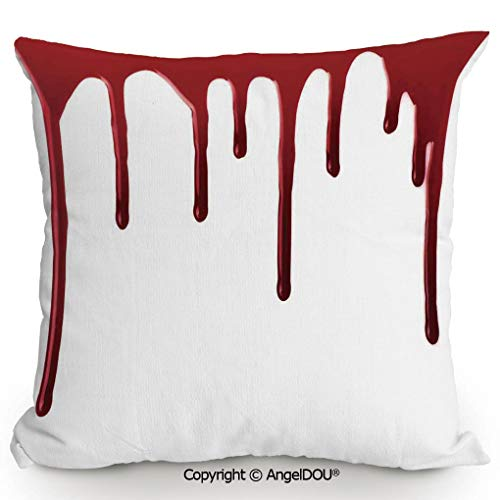 (AngelDOU Living Room Pillow Pillowcase Customization 13.7x13.7 Inch Flowing Blood Horror Spooky Halloween Zombie Crime Scary Help me Themed Illustration for Hotel Bar Cafe Living Room Sofa Office.)