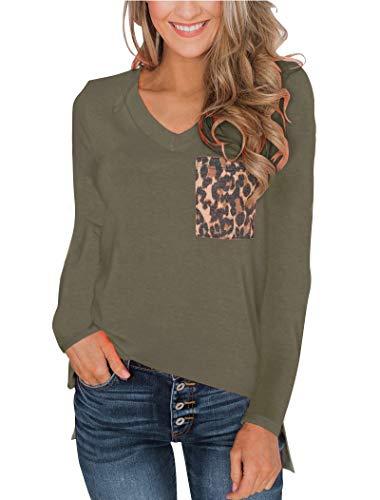 (Minclouse Women's Leopard/Sequin Pocket Summer Tops Short/Long Sleeves V Neck T Shirt Casual Basic Tees)