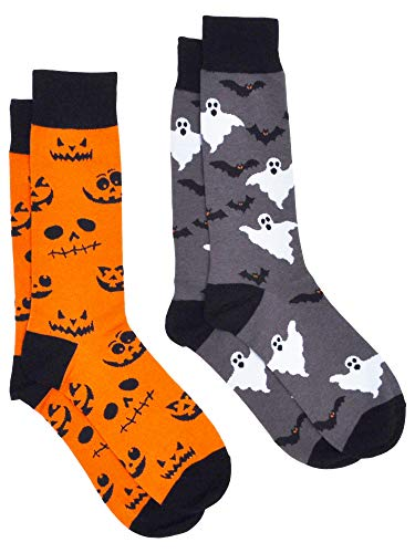 Men's Novelty Socks Trouser Dress - 2 Pair Halloween Set (Jack-o-lanterns & -