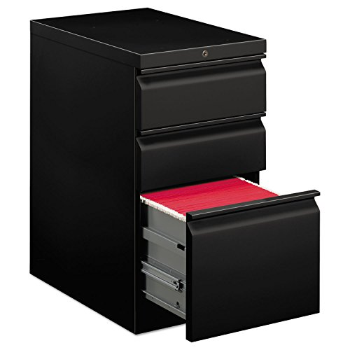 HON Efficiencies Mobile Pedestal File - Storage Pedestal with 1 File and 2 Box Drawers 22-7/8-Inch , Black (H33723R) ()