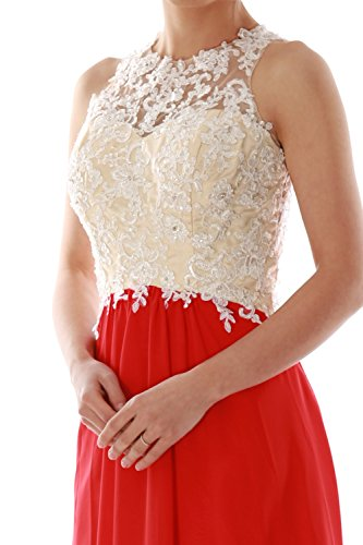 Women Formal Ball MACloth Chiffon Prom Lace High Gown Neck Long Party Dunkelgrun Dress dq1qS8v