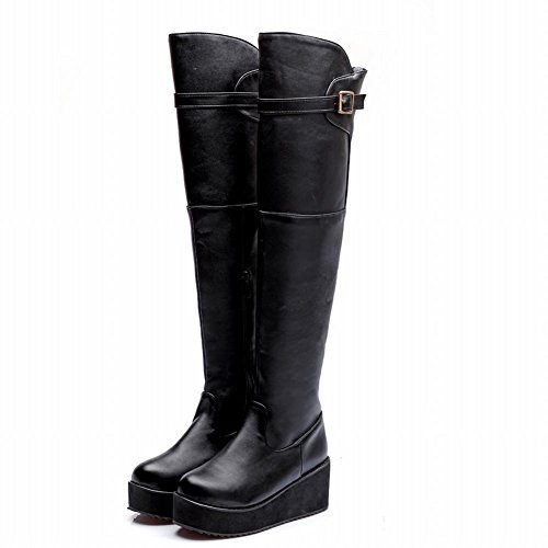 Carolbar Platform Black the Womens Boots Fashion Knee Tall Buckle Dress Above Cosplay Motorcycle Zipper 1Xaq1rH