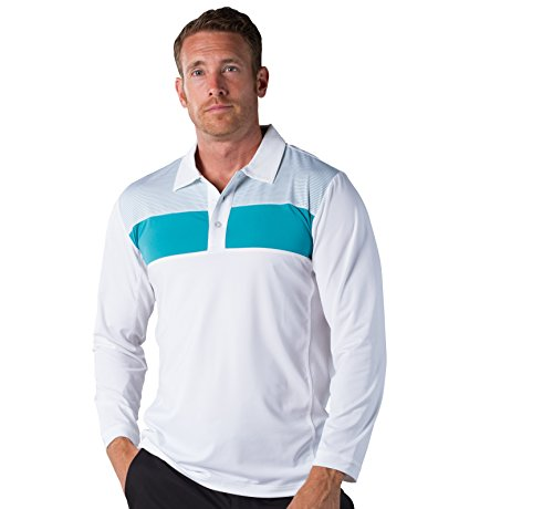 (SanSoleil SolCool Men's Inset Shoulder Stripe Button Polo White/Lagoon)