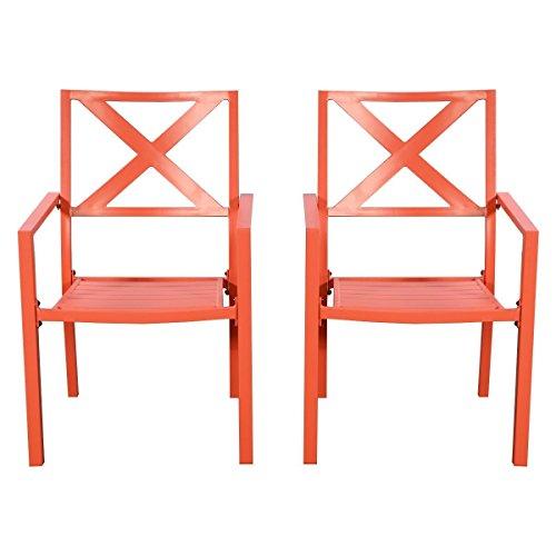 2 Pcs Outdoor Patio Chair Slat Seat Garden With Armrest Orange Furniture (Acorn Back High Chair)