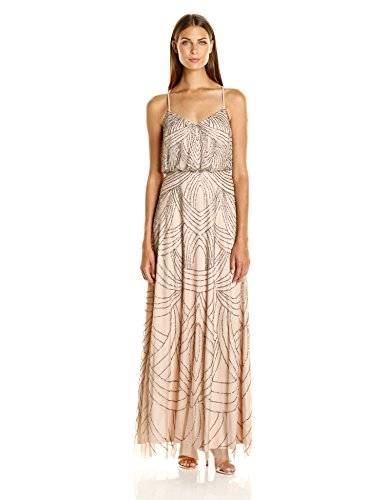 (Adrianna Papell Women's Spaghetti Strap Beaded Blouson Gown, Taupe/Pink, 2)