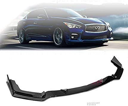 Compatible with 14 15 16 17 Infiniti Q50 Base Replacement for Front Lip Spoiler Splitter Air Dam Glossy Black 2014 2015 2016 2017 Brand EAX