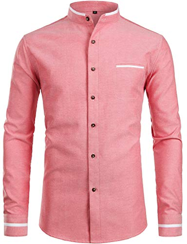 - ZEROYAA Mens Hipster Mandarin Collar Slim Fit Long Sleeve Casual Button Down Oxford Dress Shirt with Pocket Z113 Red Small