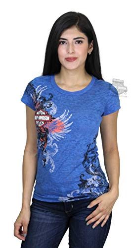 Harley-Davidson Womens Evening Shade Winged B&S Burnout with Studs Blue T-Shirt (Small)