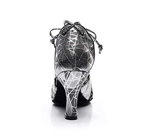 5 5 5 ZHRUI da da Stampate Scarpe Floreale Motivo Maglie Dimensione Scarpe da Donna con Inglesi a Grigie Ballo Latino Ballo Colore 2 Grigie HrwHp